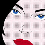 Pop art style woman. A portrait of a girl in the style of pop art popart Stock Photography