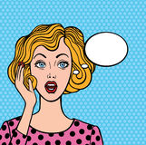 Pop art style woman. Pop art style  illustration with hand drawn outline. Surprised blond woman face with open mouth. Comic woman with speech bubble Stock Image