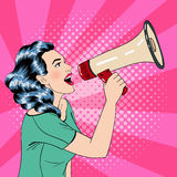 Pop Art Style Woman with Megaphone Stock Photos