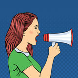 Pop Art Style Woman Screaming in Megaphone Royalty Free Stock Photos