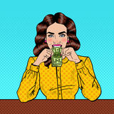 Pop Art Successful Beautiful Woman Eating Money Stock Images