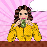 Pop Art Successful Beautiful Woman Eating Money Royalty Free Stock Images