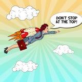 Pop Art Successful Business Woman Flying på raket Idérikt starta upp begreppet royaltyfri illustrationer