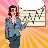 Pop Art Successful Business Woman Pointing on Growth Graph. Business Presentation Royalty Free Stock Image