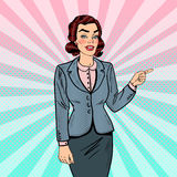 Pop Art Successful Business Woman Pointing på kopieringsutrymme 3d business dimensional presentation render shape three Arkivbild