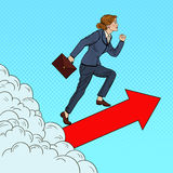 Pop Art Successful Business Woman Walking to the Top through the Clouds Vector Illustration