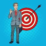 Pop Art Successful Businessman Achieved the Target. Business Success Stock Images