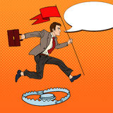 Pop Art Successful Businessman with Flag Jumping Over the Trap Royalty Free Stock Photos