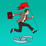 Pop Art Successful Businessman with Flag Jumping Over the Trap Royalty Free Stock Photo