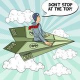 Pop Art Successful Businessman Flying on Dollar Paper Plane Stock Image