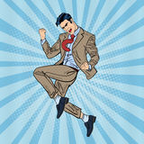 Pop Art Successful Businessman Jumping Stock Image