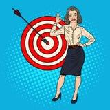 Pop Art Successful Businesswoman Achieved the Target. Business Success Stock Images