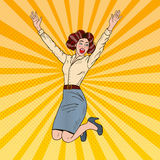 Pop Art Successful Jumping Business Woman Celebrating Royalty Free Stock Photo