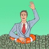 Pop Art Successful Man Sinking in Money. Businessman with Lifebuoy. Vector illustration stock illustration