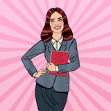 Pop Art Successful Smiling Business Woman Holding Folder Stock Image