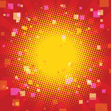 Pop art summer background with a square blur. Retro comic book illustration Stock Photography