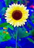 Pop Art Sunflower 3 i grundskolaträdgård arkivbilder