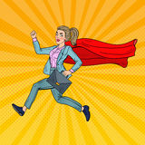 Pop Art Super Business Woman with Red Cape Stock Photo