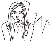 Pop art surprised blond woman face with open mouth. Comic woman with speech bubble. Eps 10, colorful in gallery Royalty Free Stock Images