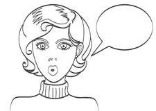 Pop art surprised blond woman face with open mouth. Comic woman with speech bubble. Vector illustration. Stock Photos