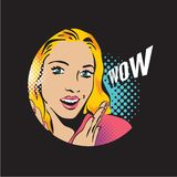 Pop art surprised blond woman face, wow woman. Halftone pattern banner Royalty Free Stock Image