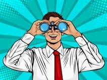 Pop art surprised businessman looking through binoculars. stock illustration