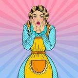 Pop Art Surprised Housewife Geschokte Jonge Mooie Vrouw in Schort stock illustratie