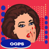 Pop art surprised pretty woman face with open mouth. Woman with speech bubble. Vector . Stock Photos