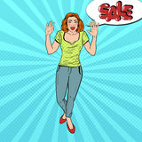 Pop Art Surprised Woman with Comic Speech Bubble Sale. Vector illustration Royalty Free Stock Photos