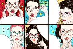 Pop art surprised woman face. Comic woman with speech bubble. Vector illustration. S royalty free illustration