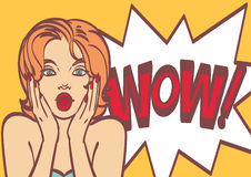 Pop art surprised woman face with open mouth. Royalty Free Stock Photography