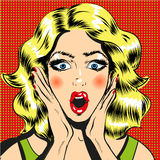 Pop art surprised woman face with open mouth comic style illustration Stock Photo