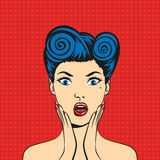 Pop art surprised woman face with open mouth Royalty Free Stock Image