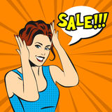 Pop art surprised woman face with smile and a sale speech bubble Stock Image