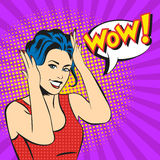 Pop art surprised woman face with smile and a WOW bubble Stock Images