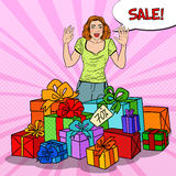 Pop Art Surprised Woman with Huge Gift Boxes and Comic Bubble Sale. Vector illustration Royalty Free Stock Image