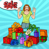 Pop Art Surprised Woman with Huge Gift Boxes and Comic Bubble Sale. Vector illustration Royalty Free Stock Photography