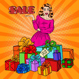 Pop Art Surprised Woman with Huge Gift Boxes and Comic Text Sale. Vector illustration Stock Images