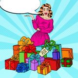 Pop Art Surprised Woman with Huge Gift Boxes. Vector illustration Stock Images