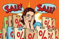 Pop art surprised woman sales discounts, the buyer Stock Images