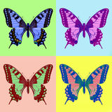 Pop art swallowtail (Papilio machaon). Isolated stock image
