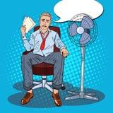 Pop Art Sweating Businessman Due aan Heet Klimaat De hitte van de zomer royalty-vrije illustratie