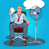 Pop Art Sweating Businessman Due to Hot Climate. Summer Heat Royalty Free Stock Photo