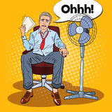 Pop Art Sweating Businessman in Front of Fan at Office Work. Summer Heat Stock Images