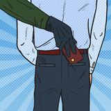 Pop Art Thief Stealing Wallet from Man Pocket. Pickpocket Theft. Vector illustration Stock Photography