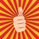 Pop art thumbs up hand like. Good hand gesture, OK icon comic style Vector illustration. stock illustration