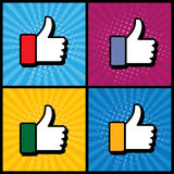 Pop art thumbs up & like hand symbol used in social media - vect Stock Images