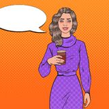 Pop Art Tired Asleep Beautiful Woman with Morning Coffee. Awaked Exhausted Girl. Vector illustration Royalty Free Stock Image