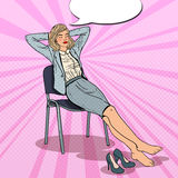 Pop Art Tired Business Woman Relaxing on Chair Stock Photography