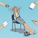 Pop Art Tired Business Woman Relaxing på stol Arkivbild